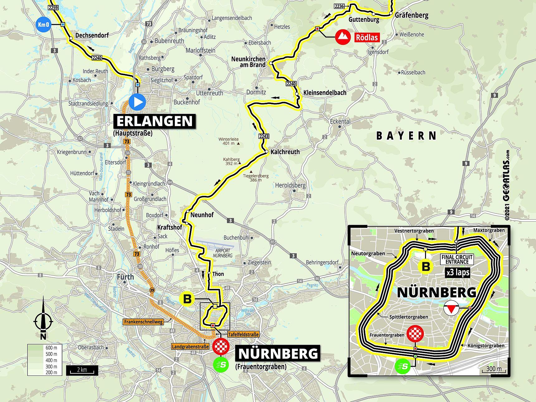 Streckenkarte Etappe 4 Deutschland Tour 2021