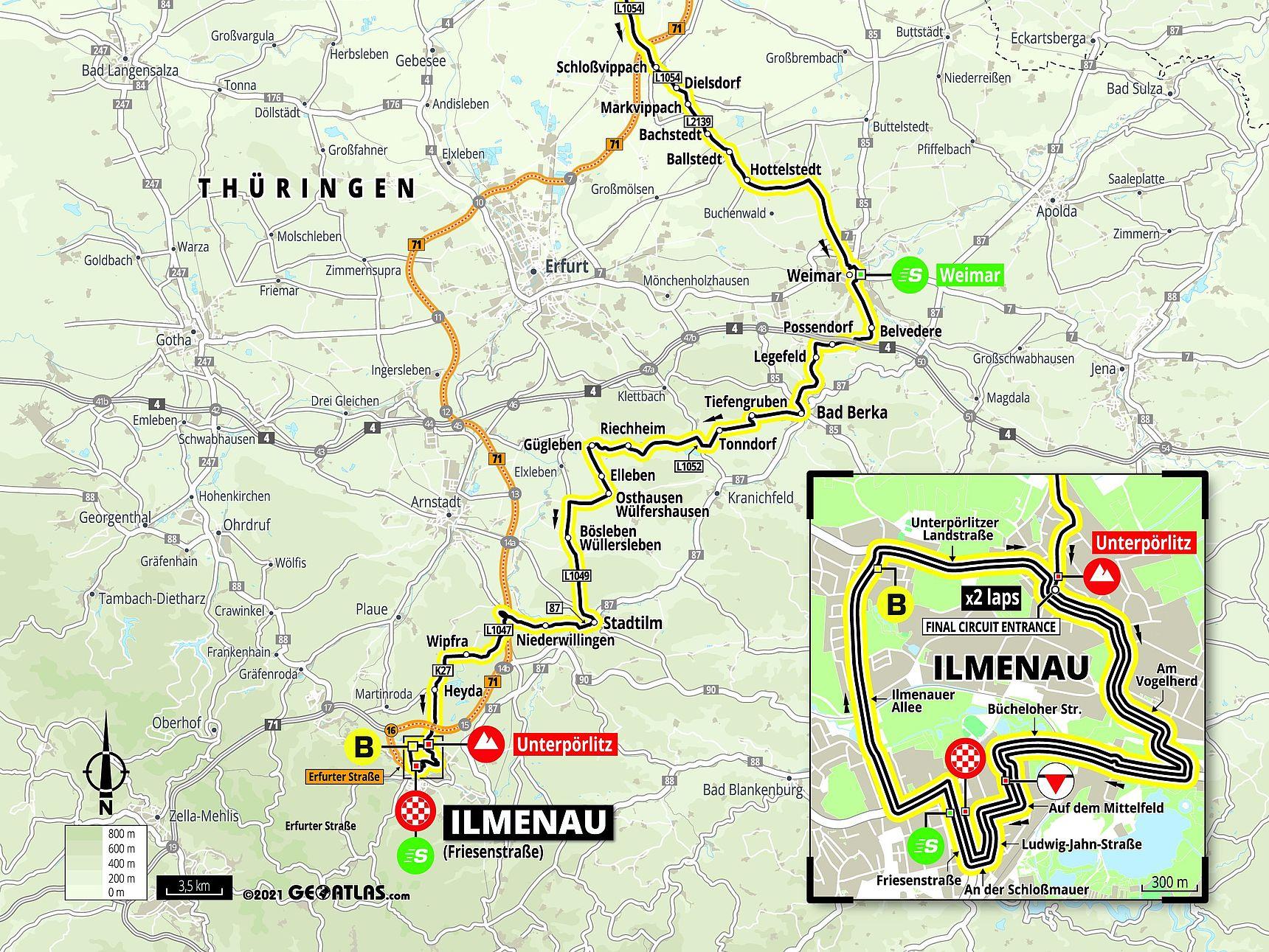 Streckenkarte Etappe 2 Deutschland Tour 2021