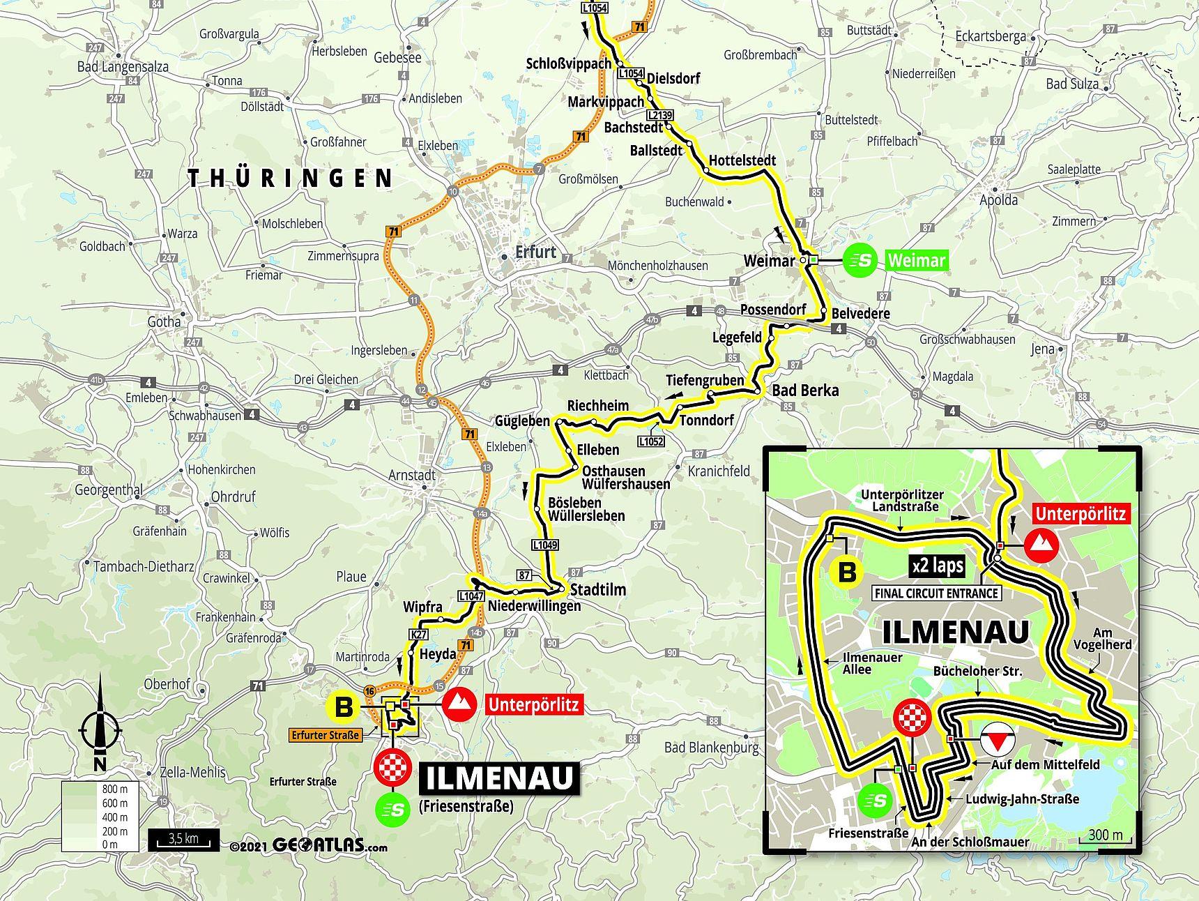 [Translate to English:] Streckenkarte Etappe 2 Deutschland Tour 2021