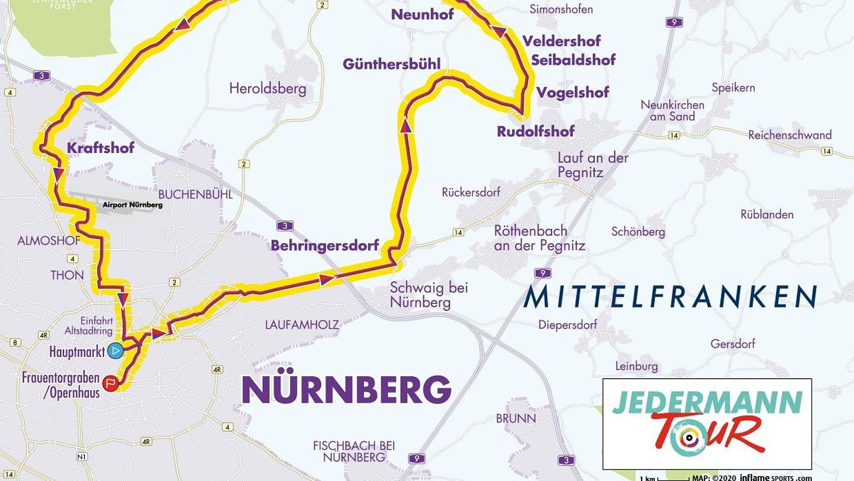 Streckenkarte Jedermann Tour 2021.