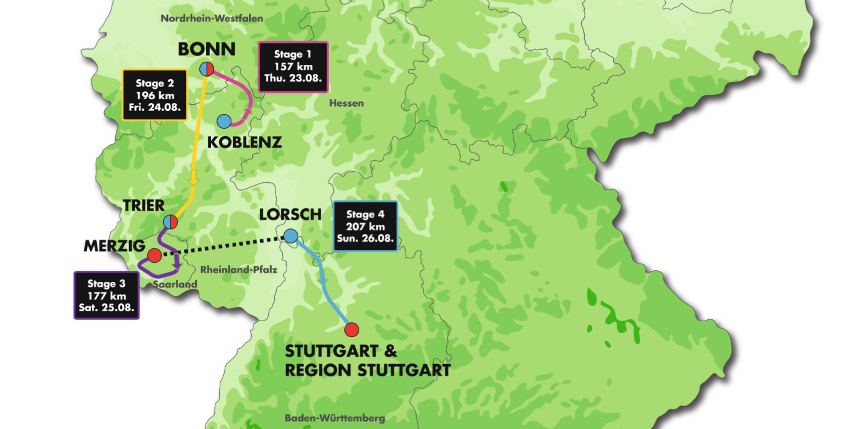 map stages Deutschland Tour 2018