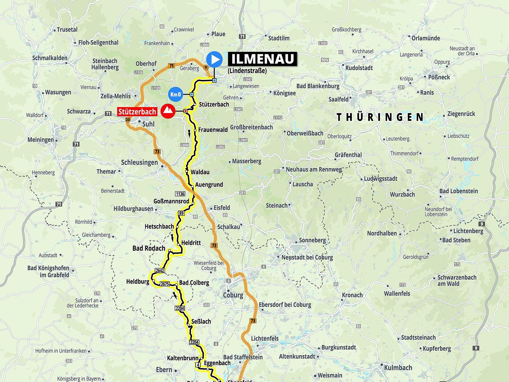 Streckenkarte Etappe 3 Deutschland Tour 2021